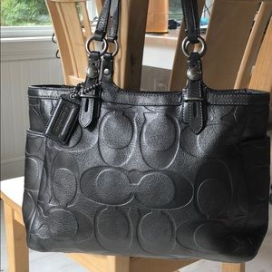 Coach Embossed Gunmetal Grey Leather Tote F15242